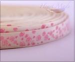 Лента молочная с нежно-розовыми цветами